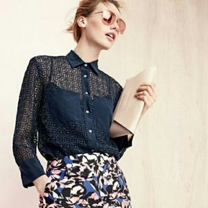 J. Crew • Navy Geometric Lace Button Down Shirt